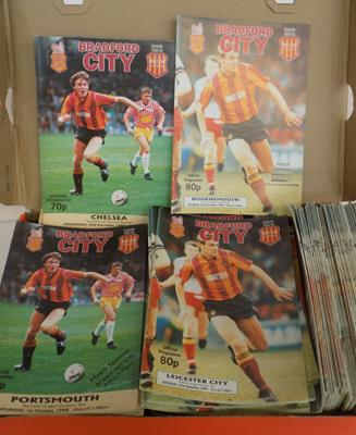 Box of over 100 Bradford City home programmes 1980's