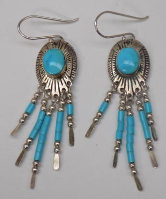 Pair of silver native indian style earrings