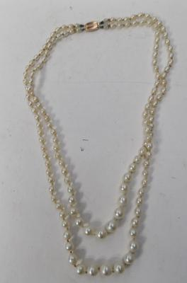 9ct gold clasped faux pearl necklace