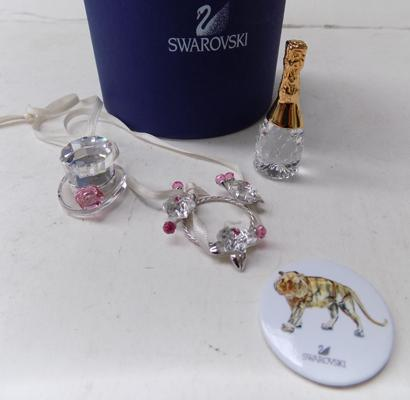 Swarovski top hat, garland, badge and champagne bottle