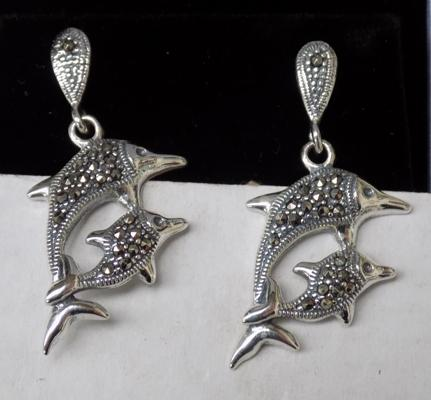 Pair of silver and marcasite dolphin earrings