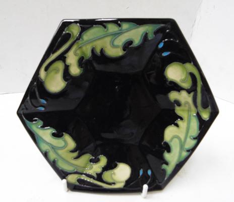 Moorcroft hexagonal black with leaf design plate