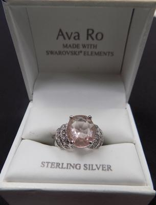 925 Stamped silver ring with pink stone