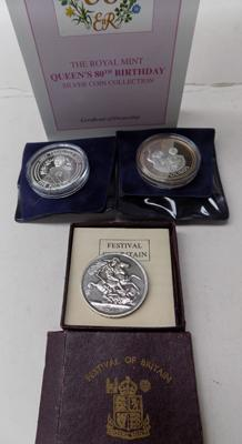 2 £5 commemorative coins and 1 festival of Britain commemorative coin