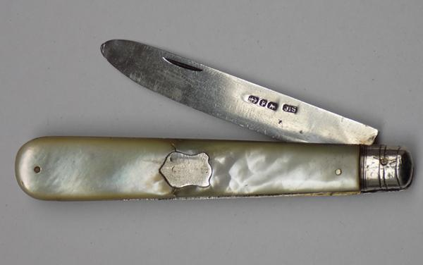 Victorian silver mother of pearl pen knife, Birmingham 1889, James Swann