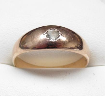 9ct rose gold gent's solitaire signet ring, size U 1/5