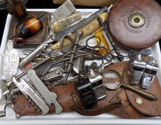 Tray of mixed collectables incl. vintage acme thunder whistles