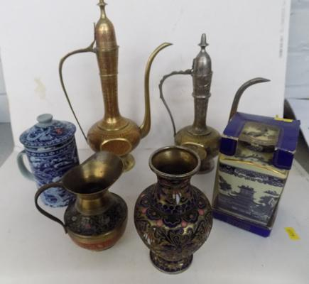 Selection of decorative jugs, pots & other items