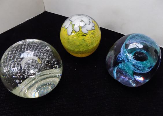 Three paperweights including - Caithness and Mdina