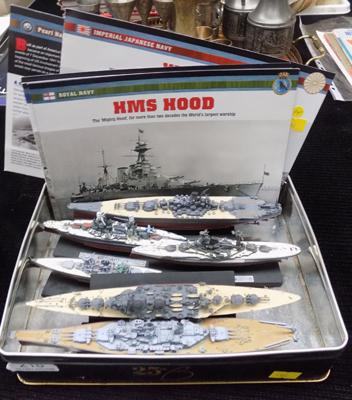 Six warship models of WWII with certificates