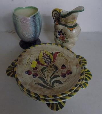 "Falconware ""Sonora"" 4 plates and jug No 463 and Sylvac vase No 746"