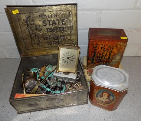 Selection of vintage tins & collectables