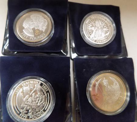 4 x £5 commemorative coins