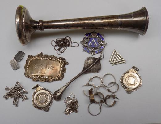 Selection of silver and white metal items incl. silver posey vase and unusual snake spoon
