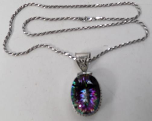 Large mystic topaz pendant on silver twist rope chain