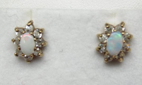 Pair of 9ct gold opal earrings