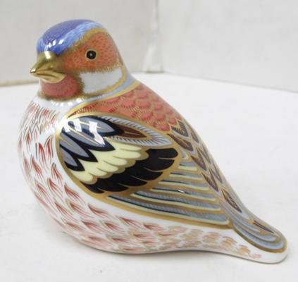 Royal Crown Derby Chaffinch paperweight, gold stopper. In box. No damage found