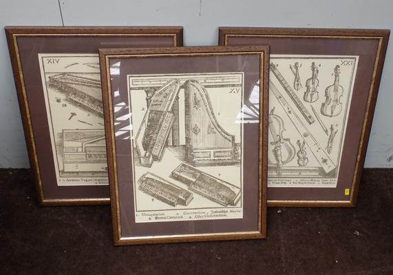 "3x Framed prints of vintage instruments - size 17"" x 22"""
