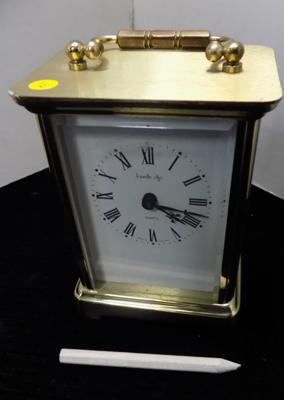 Heavy brass mantle/carriage clock - battery operated