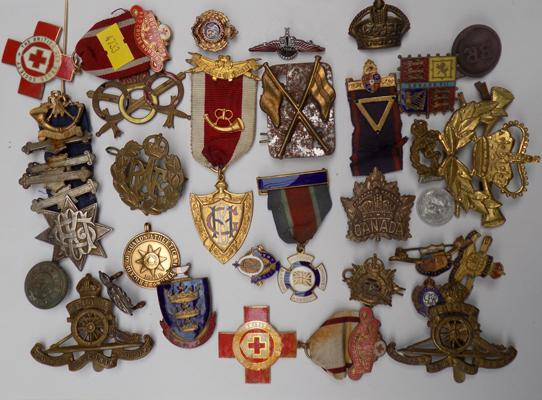 Good selection of military badges and medals incl. red cross, first aid, RAF, Canadian etc.