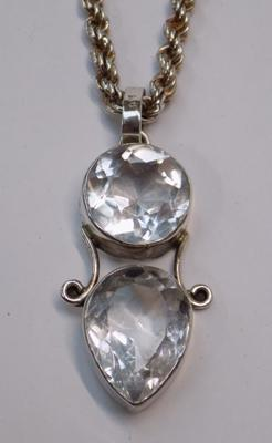 Large 925 silver clear stone pendant on twist rope neck chain