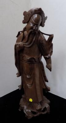 Vintage oriental carved figure - 12 ""