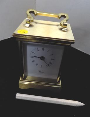 "Heavy brass quality Weiss, German carriage clock battery operated (approx 4"")"