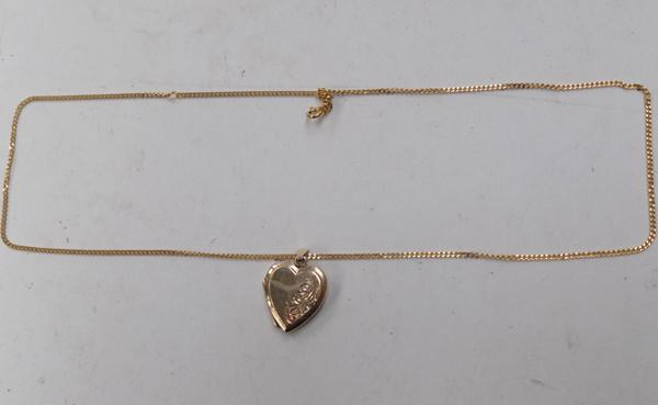 9ct gold heart locket on gold on silver chain