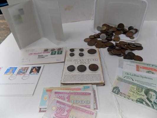 Box of mixed coins, banknotes and stamps