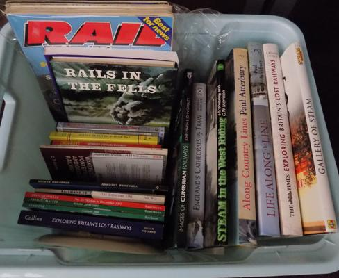 Box of railway books, DVD's and Wedgwood plate
