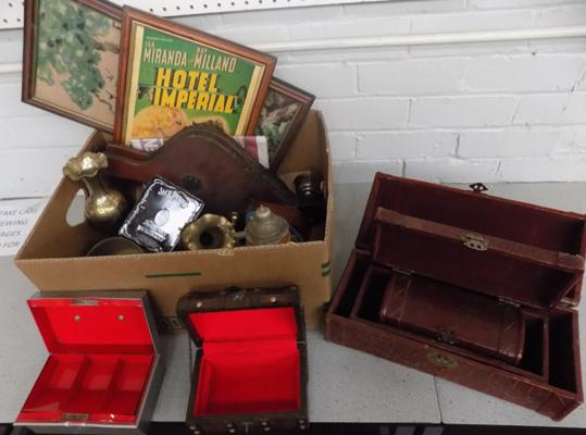 Box of antique vintage items - bellows, Brass, early 3+1 box set