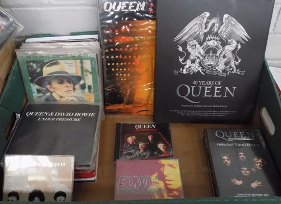 Box of Bowie, Queen records CD's and memorabilia over 65 singles