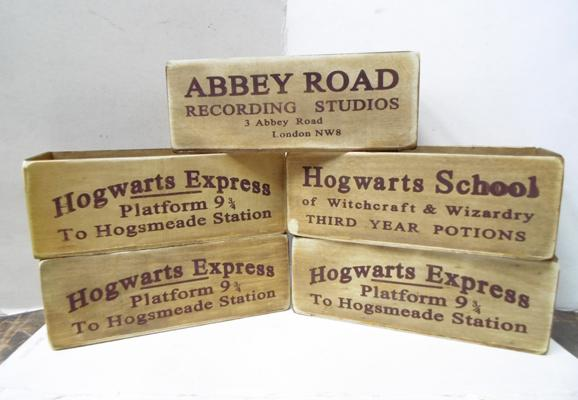 Four Hogwarts wooden trays + 1 Abbey Road wooden tray