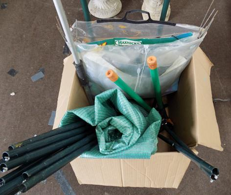 Assorted garden items (2x cloches and tools)-unchecked