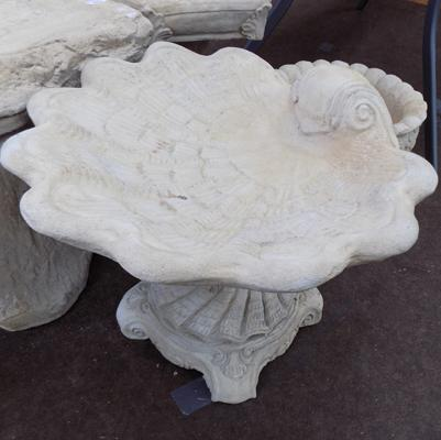 Shell bird bath on large decorative base