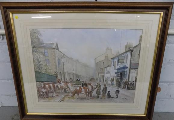 "J Smith "" Off to market"" watercolour 22"" x 18"""