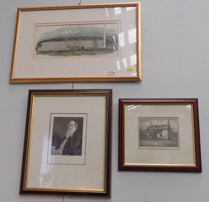 3x Framed prints of Sir Titus Salt & Saltaire mill
