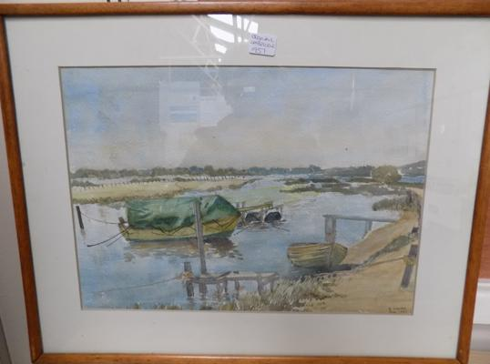 1957 Watercolour of Rivers Edge by G Cooper