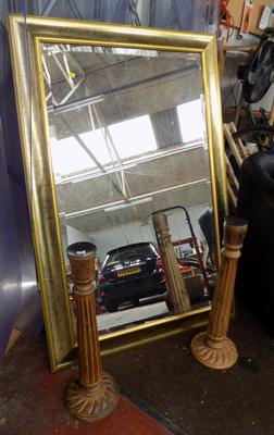 Large bevel edge mirror & 2 candle sticks