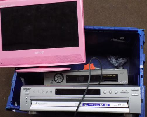 Box of electricals inc pink tv