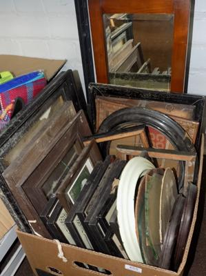 Large box of vintage frames & framed prints etc
