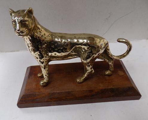 Solid brass Leopard on stand