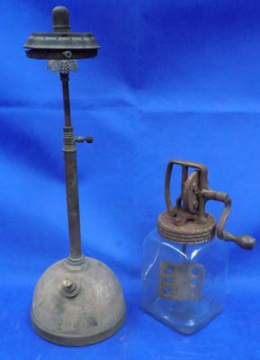 Tilly lamp & butter churn - vintage