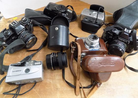 Box of assorted cameras