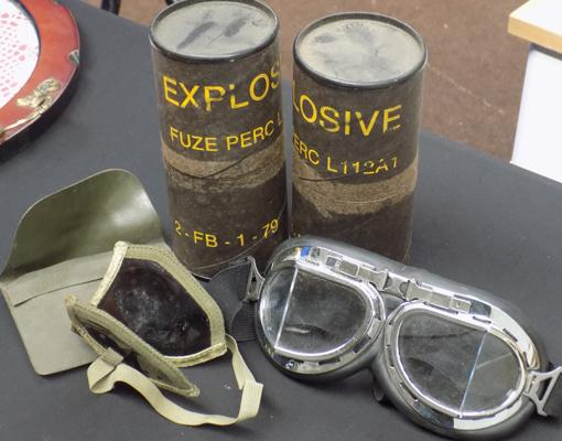 Selection of Military items inc foldaway goggles