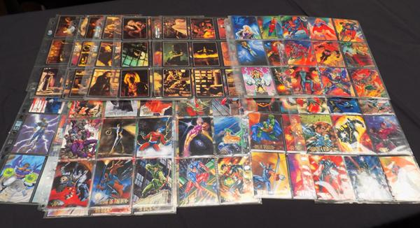 Selection of collectable comic cards including Wonderwoman and more