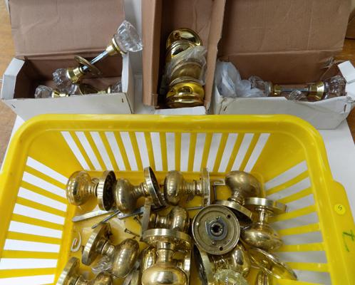 Brass and glass door knobs