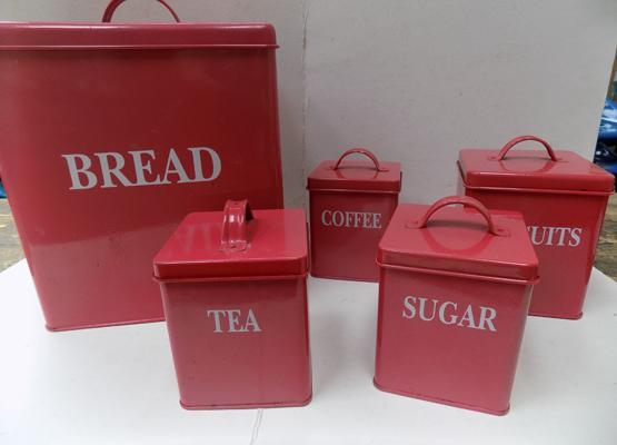Kitchenware set, bread, tea and coffee, sugar etc.
