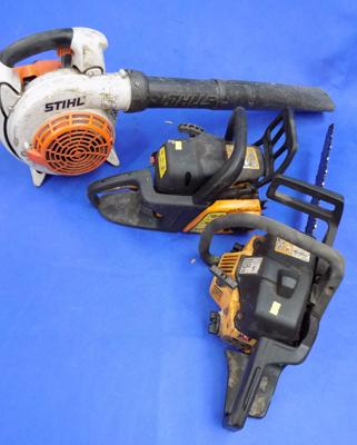 Stihl petrol blower & 2 partner chain saws - all running but need work