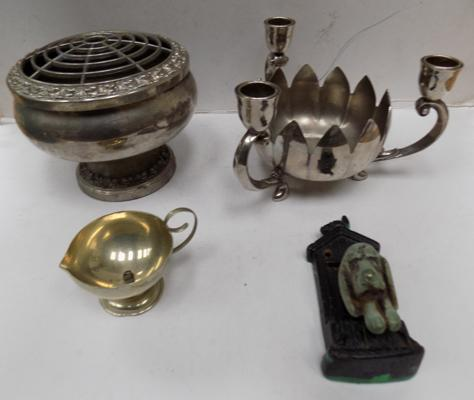 EP brass dish & bowl and brass doorknocker
